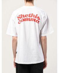 SHETHISCOMMA B-f Arch T-shirt - Blue