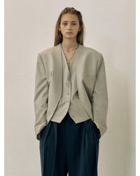 Low Classic (pre-order) 2 Piece V-neck Jacket - Natural