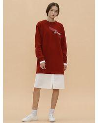 W Concept Fire Sweatshirt Dress_dark Red