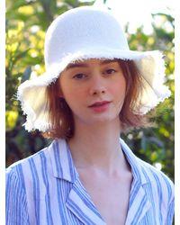 SLEEPYSLIP Linen Fabric Bucket Hat - White