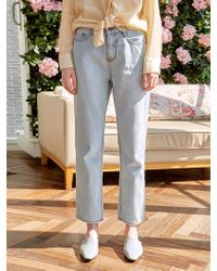 YAN13 Semi Wide Light Washing Jeans Denim - Blue
