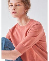PLOT Back Button Half Sleeve Knit Sky Light Orange