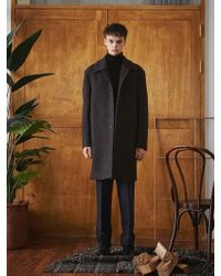 W Concept - Charcoal Gray Terry Wool Mac Coat - Lyst