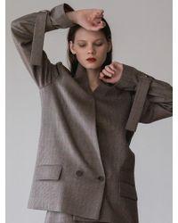 AEER - Collarless Strap Wool Jacket Beige Check - Lyst