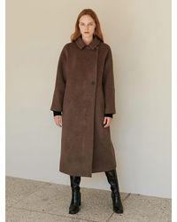 among A Raglan Wool Coat - Brown