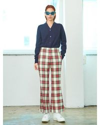 Pushbutton Check Trousers - Blue