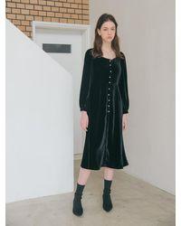 VEMVER Velvet Square Neck Midi Dress - Black
