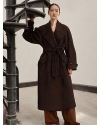 Low Classic Wool Belt Coat - Brown