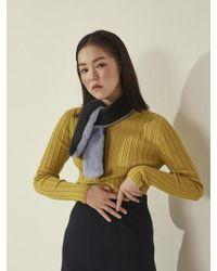 Aheit - Rib Point Slim Knit Pullover Yellow - Lyst