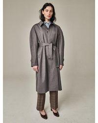 Bouton Blown Sleeve Trench Coat Grey Herringbone - Gray