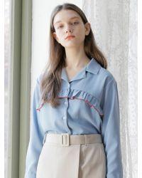 W Concept - Color Shirring Shirt Sky Blue - Lyst
