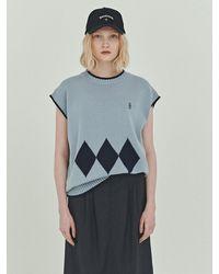 Bensimon Argyle Knit Vest - Blue