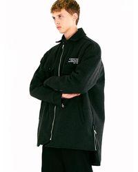 MADMARS Unisex Oversize Lettering Wool Jacket - Black