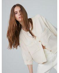 AEER Round Neck Crop Jacket Shirt (light Beige) - Natural