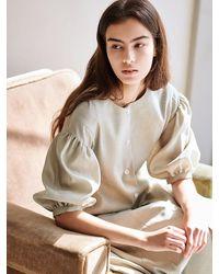 AVA MOLLI [summer Wool] Linen Puffed A-line Dress - Multicolour