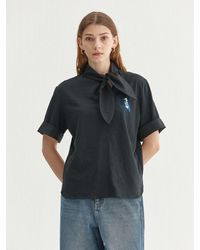 a.t.corner [mamacomma Limited] Fabric Mixed Tie-blouse (aets1f002bk) - Black