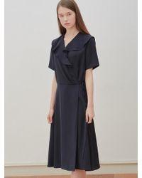 W Concept - Shirring Wrap Dress Navy - Lyst