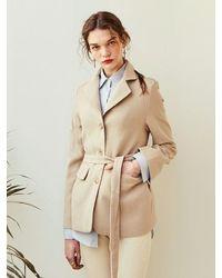 YAN13 Robe Three Button Blazer - Natural