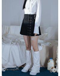 CLUT STUDIO 0 6 Safety Pin Warp Skirt () - Black