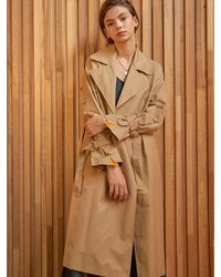 Clue de Clare Placket Sleeve Trench Coat - Natural