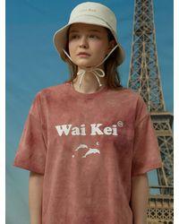 WAIKEI Logo Short-sleeved T-shirt Tie-dye Pink