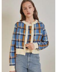 among A Check Jacquard Knit Set - Blue