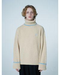 WAIKEI Yk Lambs Wool Turtleneck Knitwear - Natural