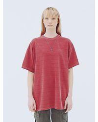 APPARELXIT Unisex Stripe Washing T-shirts - Red