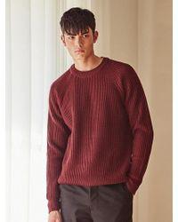LIUNICK - Raglan Crew Neck Lip Sweater_wine - Lyst