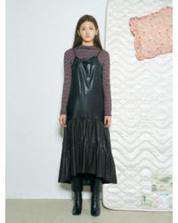 Baby Centaur - Leather Shirring Dress Black - Lyst