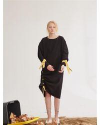 W Concept - Round Collar Drawstring Diy Knitting Dress Black - Lyst