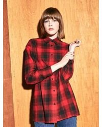 COLLABOTORY - Bacma0005m Boyfrined Fit Check Shirt_red - Lyst