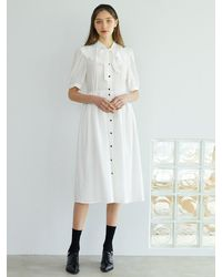 F.COCOROMIZ Big Collar Ribbon Tie Dress (wh) - White