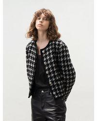 AVA MOLLI Collarless Tweed Jacket - Black