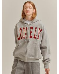NOHANT - Lonely/lovely Zip-up Hoodie Gray - Lyst