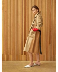 Clue de Clare Colour Block Trench Coat - Natural