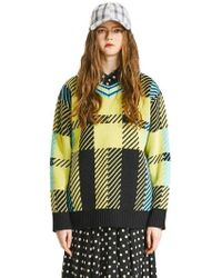 Heich Blade - [unisex] Tartan Check V-neck Knit Apple Green - Lyst