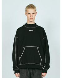 LAYER UNION St Mock Neck Over Sweatshirt Fl - Black