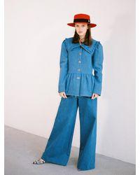 THE ASHLYNN Alice Peterpan Blouse Jacket - Blue