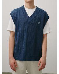WAIKEI Mix Knit Vest Classic Blue
