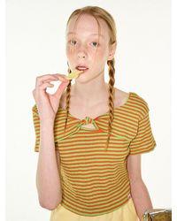 FUNFROMFUN Knotted Stripe T-shirts (orange+green) - Multicolour