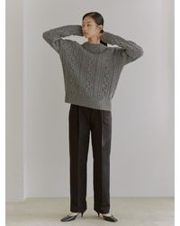 38comeoncommon Fine Wool Cable Knit () - Grey