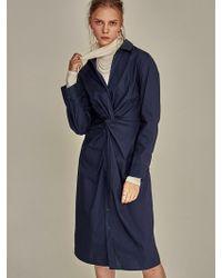 YAN13 - Cotton Twist Dress Navy - Lyst