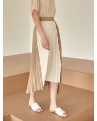 COLLABOTORY Color-block Unbalanced Pleated Skirt - Black