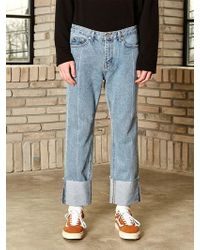 YAN13 - Roll Up Washed Jeans Light Denim - Lyst