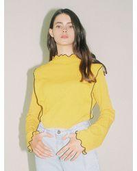 Noir Jewelry Jacquard Top - Yellow