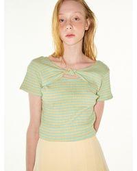 FUNFROMFUN Knotted Stripe T-shirts (mint+yellow) - Green
