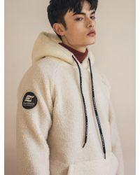 F.ILLUMINATE [unisex] Lamb Fuzzy Hoodie-ivory - Natural