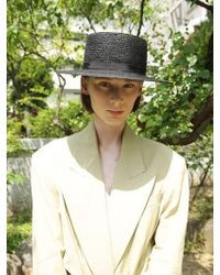 Awesome Needs - [unisex] Wheat Straw Boater Hat Black Black Strap - Lyst