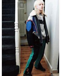 KIMMY J [unisex]knit Detail Faux Fur Collar Leather Jacket - Multicolor